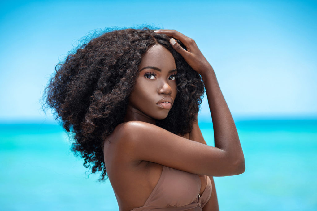 Tropical Beach Beautiful Black Curly Queen