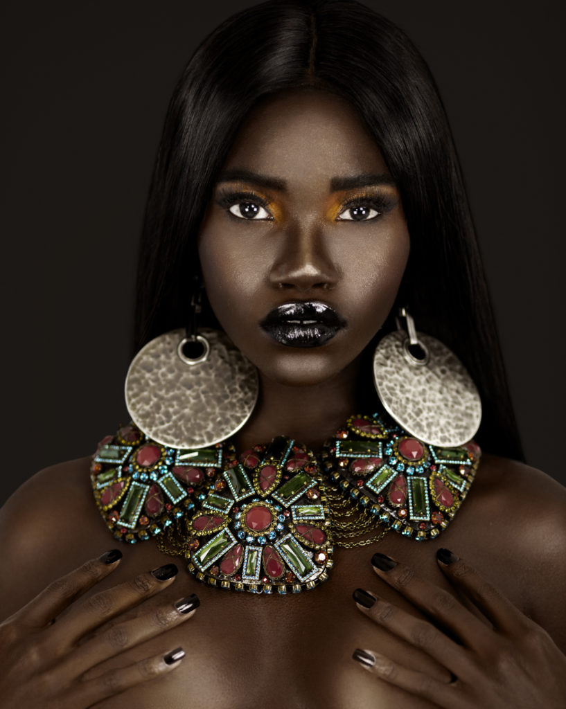 Clean & Serene Black Lady in Colorful Jewelry