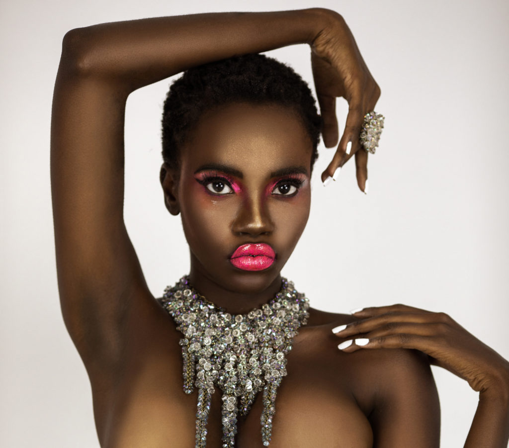Clean & Serene Black Lady With Pink Lips & Jewelry