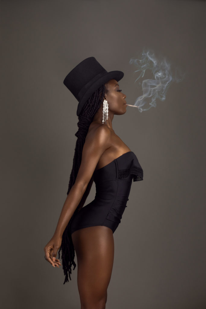 Smoking Black Lady With Top Hat