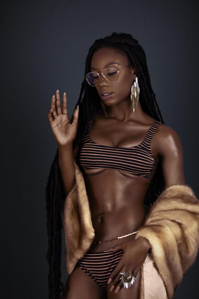 Serene Black Lady in Fur