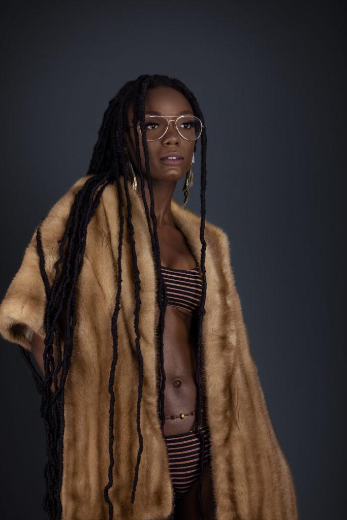 Sensual Black Lady in Fur