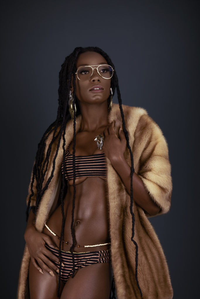 Sexy Black Lady in Fur