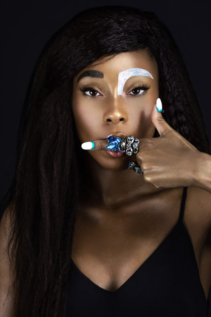 Wavy Sensual Black Lady with Jewelry Finger
