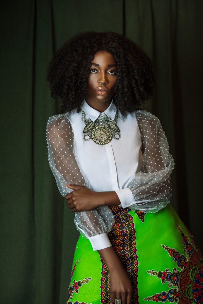Elegant Black Lady in Skirt of Art