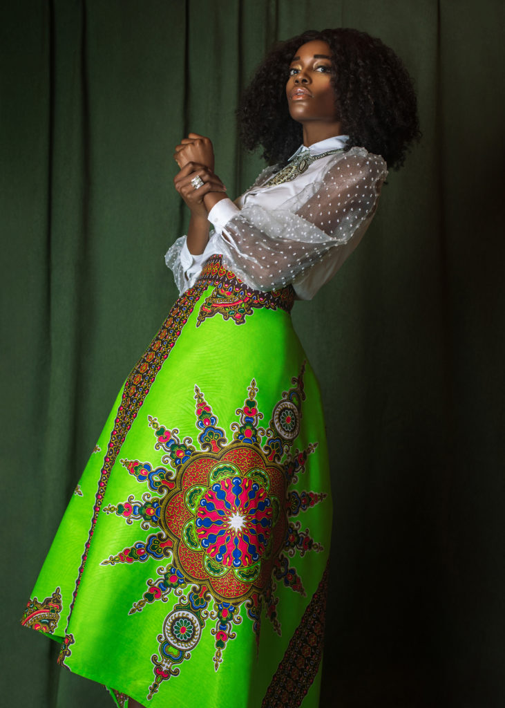 Attractive Black Lady in Skirt of Art