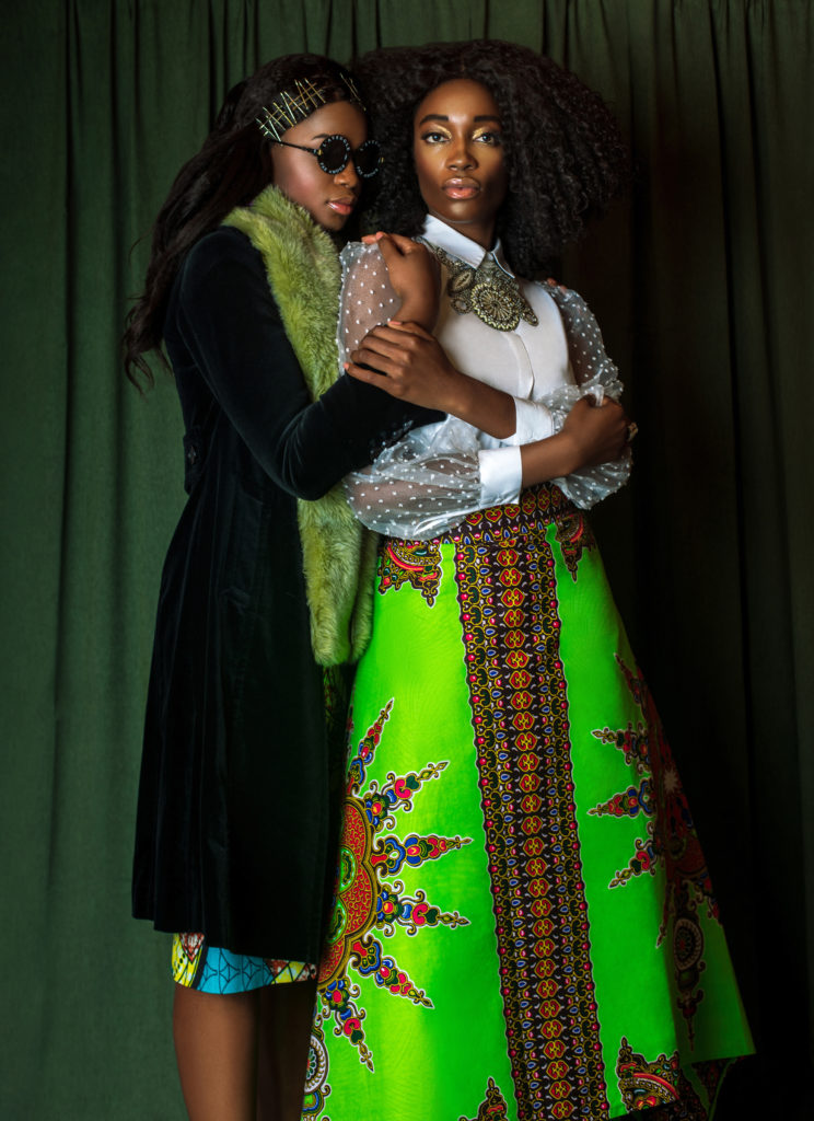 Two Sexy Black Ladies in African Designer Clothing