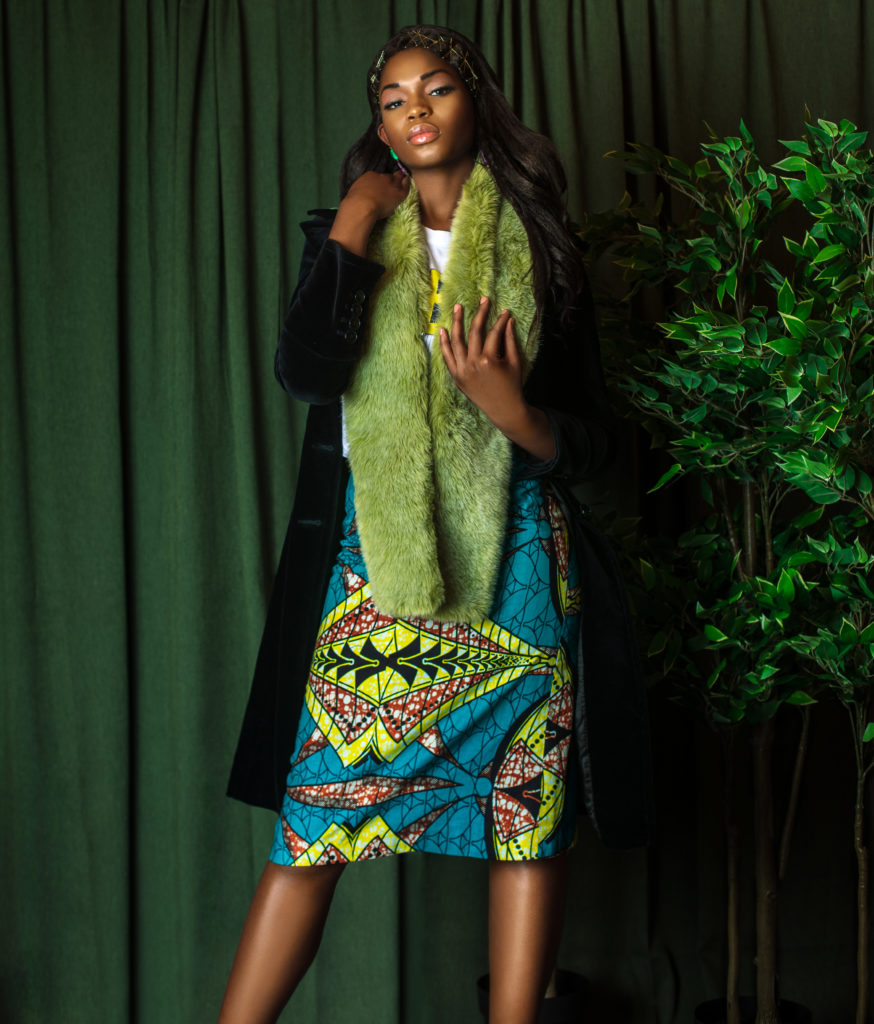 Black Lady with Green Fur Coat