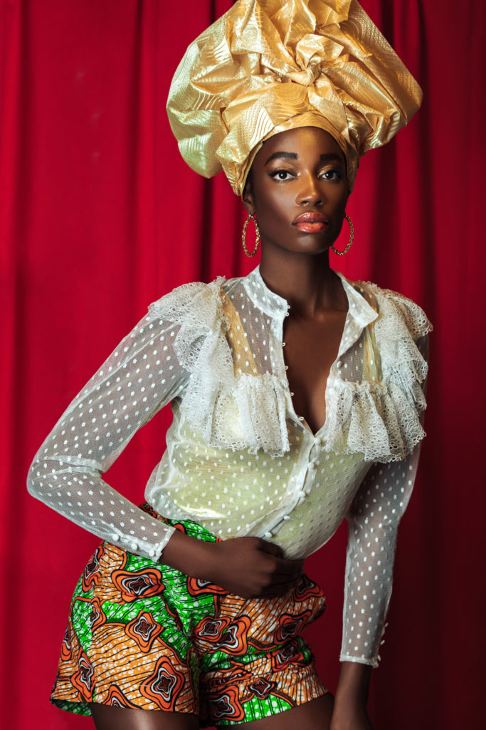 Attractive Black Queen with Gold Crown