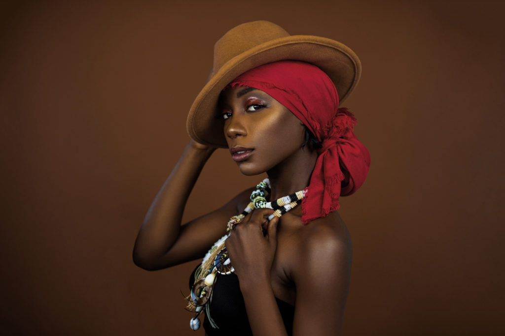 Black Gypsy Queen with Red Headscarf