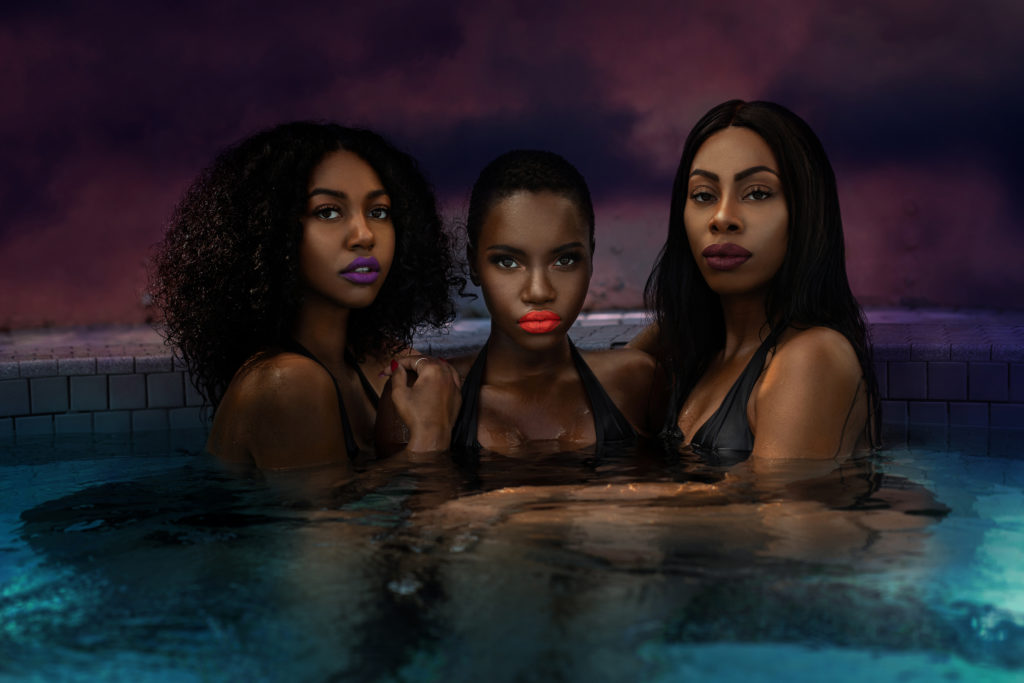 Sexy Melanated Queens in the Pool