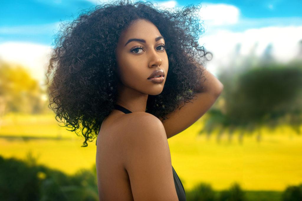 Curly Long Hair Tropical Serene Shady Lady