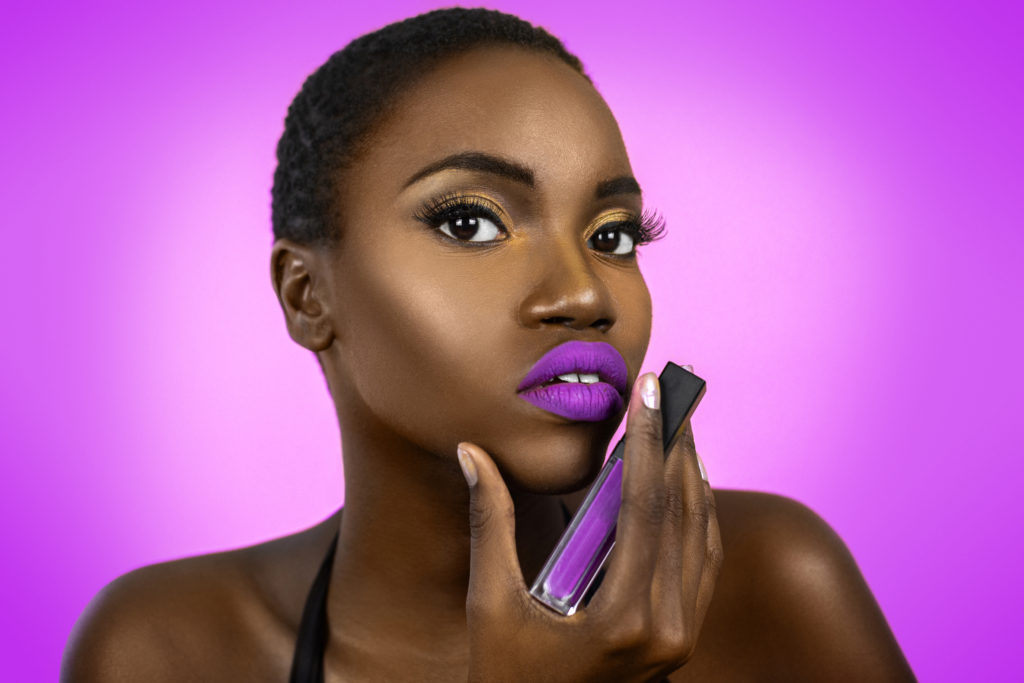 Short Hair Sexy Shady Lady Holding Lip Stick in Purple