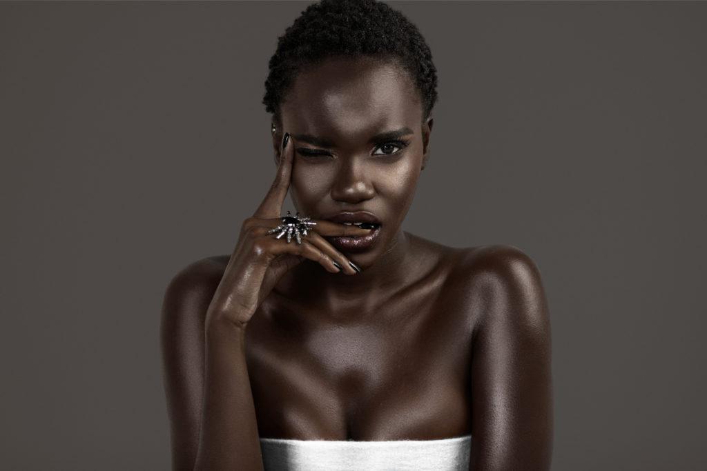 Biting Clean & Serene Black Lady In Black Jewelry