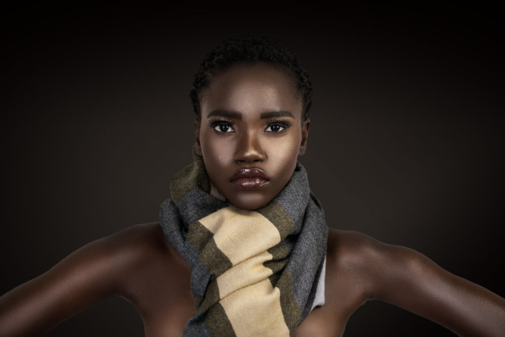 Clean & Serene Black Lady In Colorful Scarf