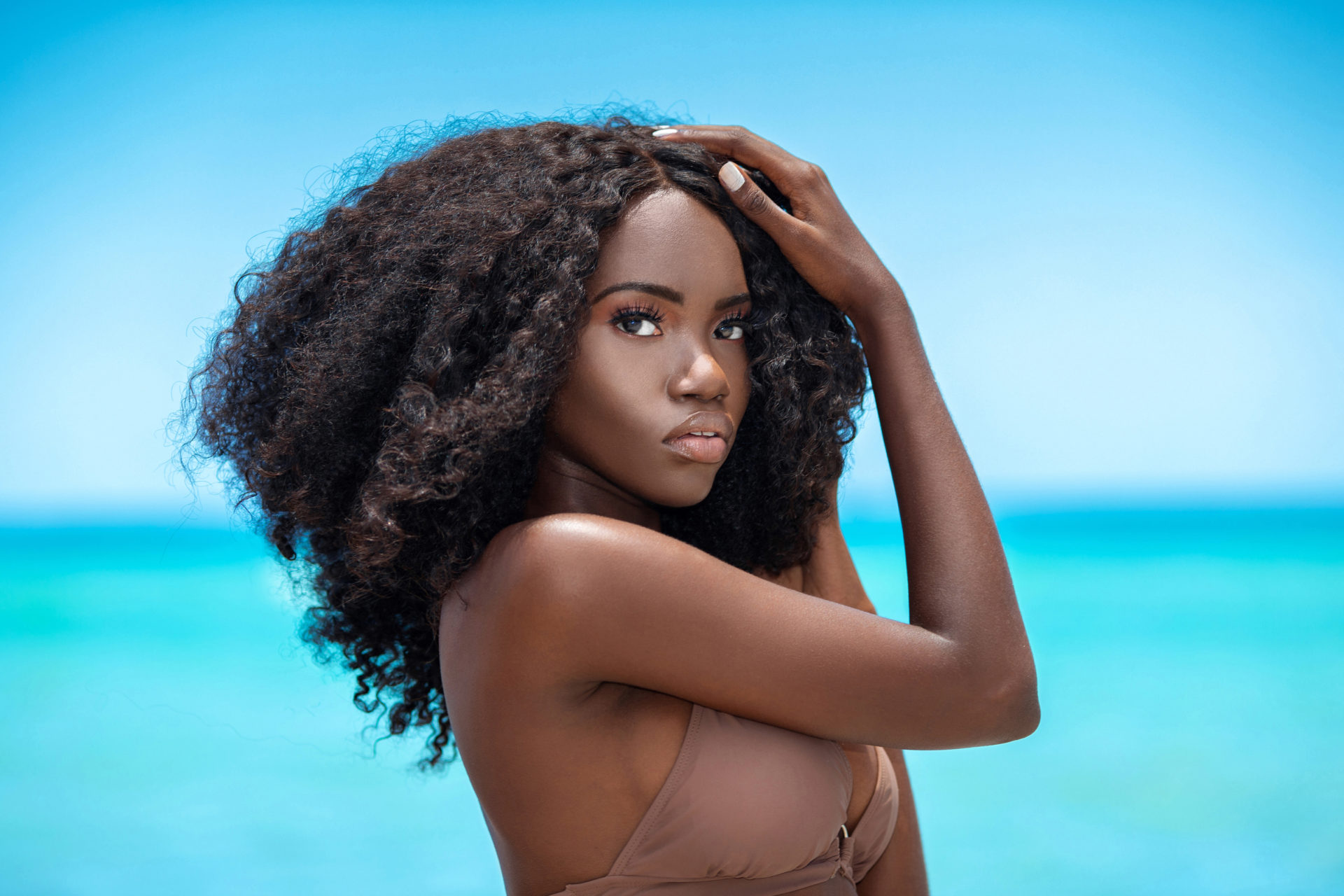 Tropical Beach Beautiful Black Curly Queen