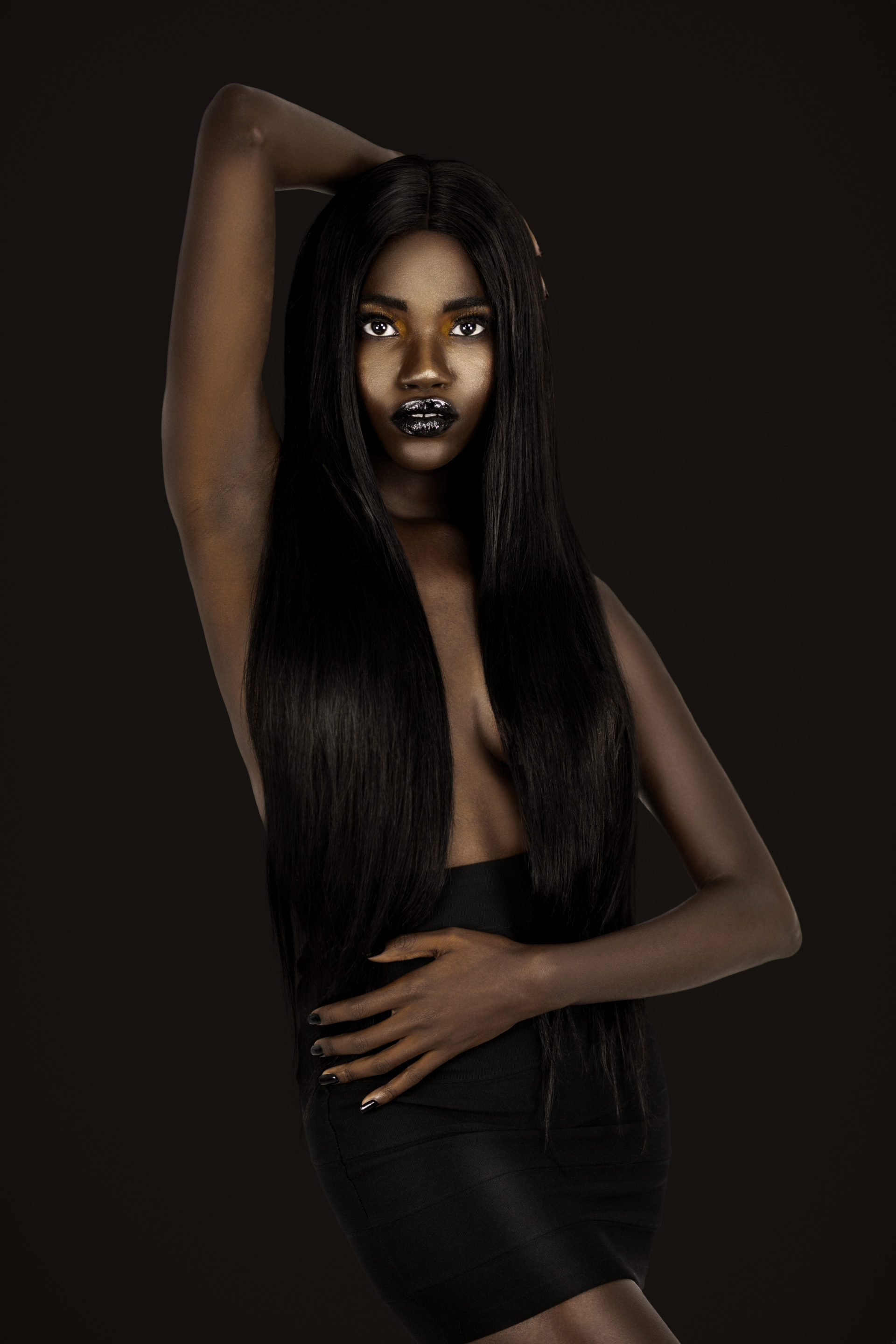Clean & Serene Black Lady With Long Black Hair