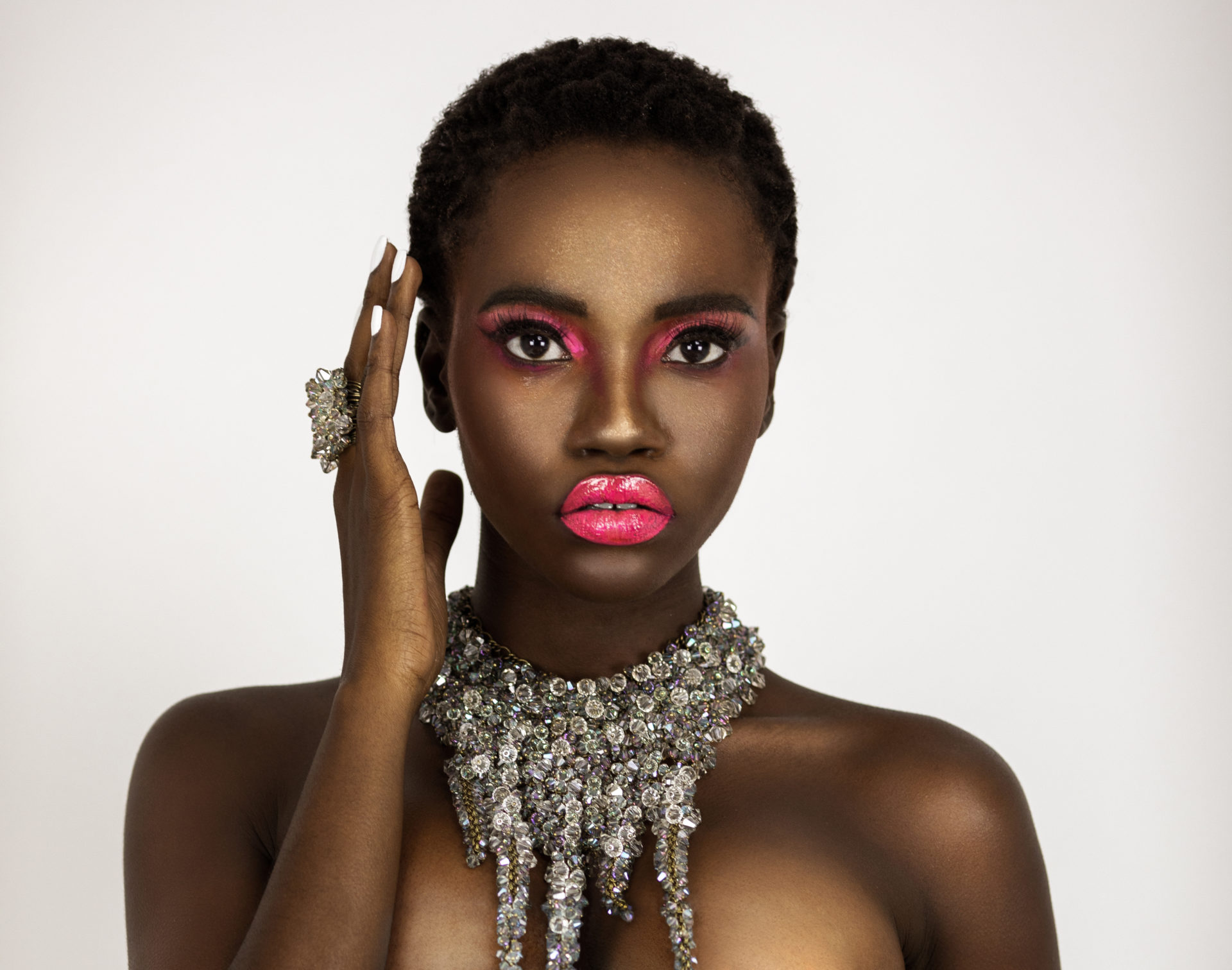 Clean & Serene Black Lady With Pink Lips & Diamond Jewelry