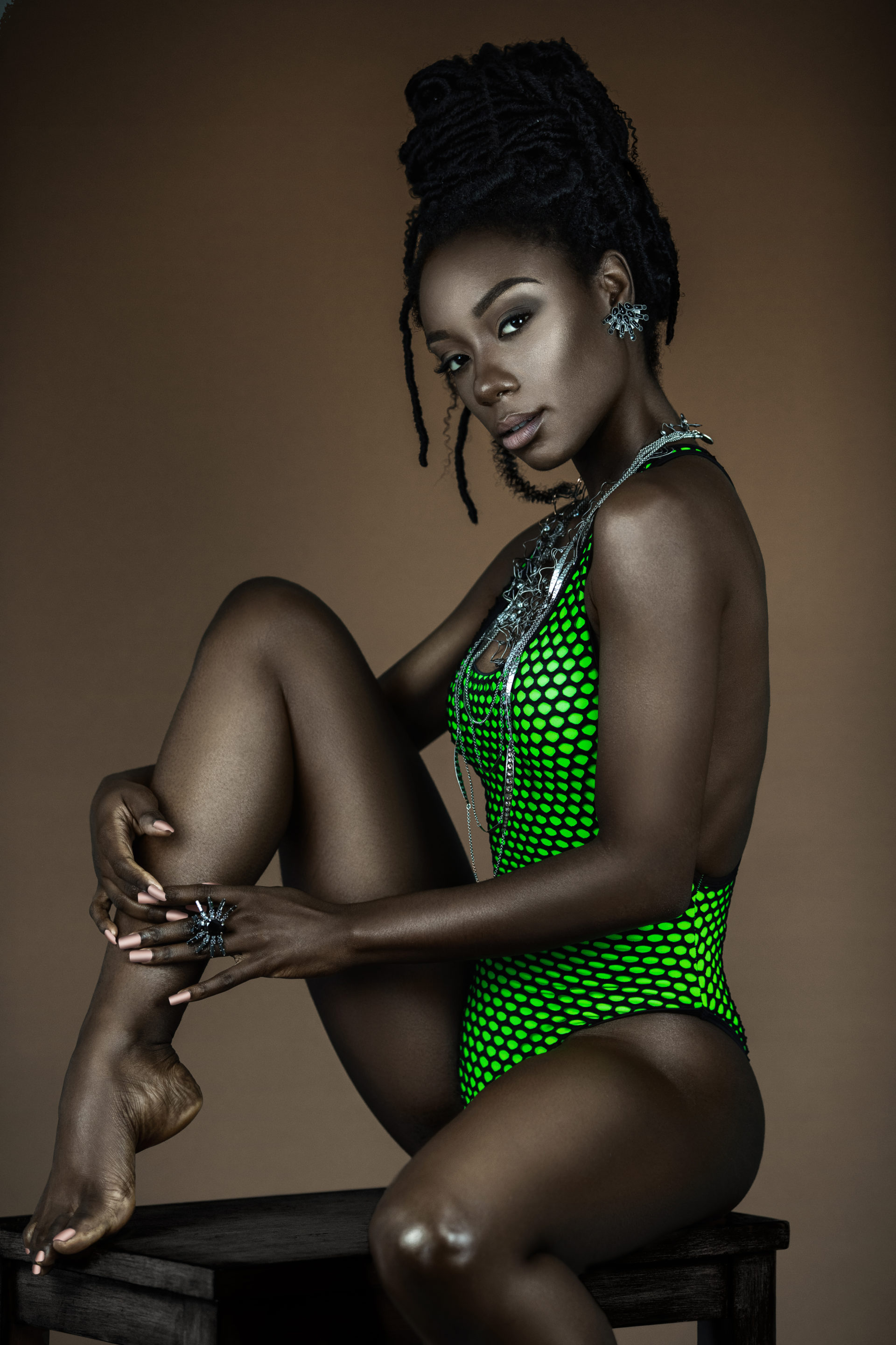 Beautiful Young Black Lady In Green Bathing Suit