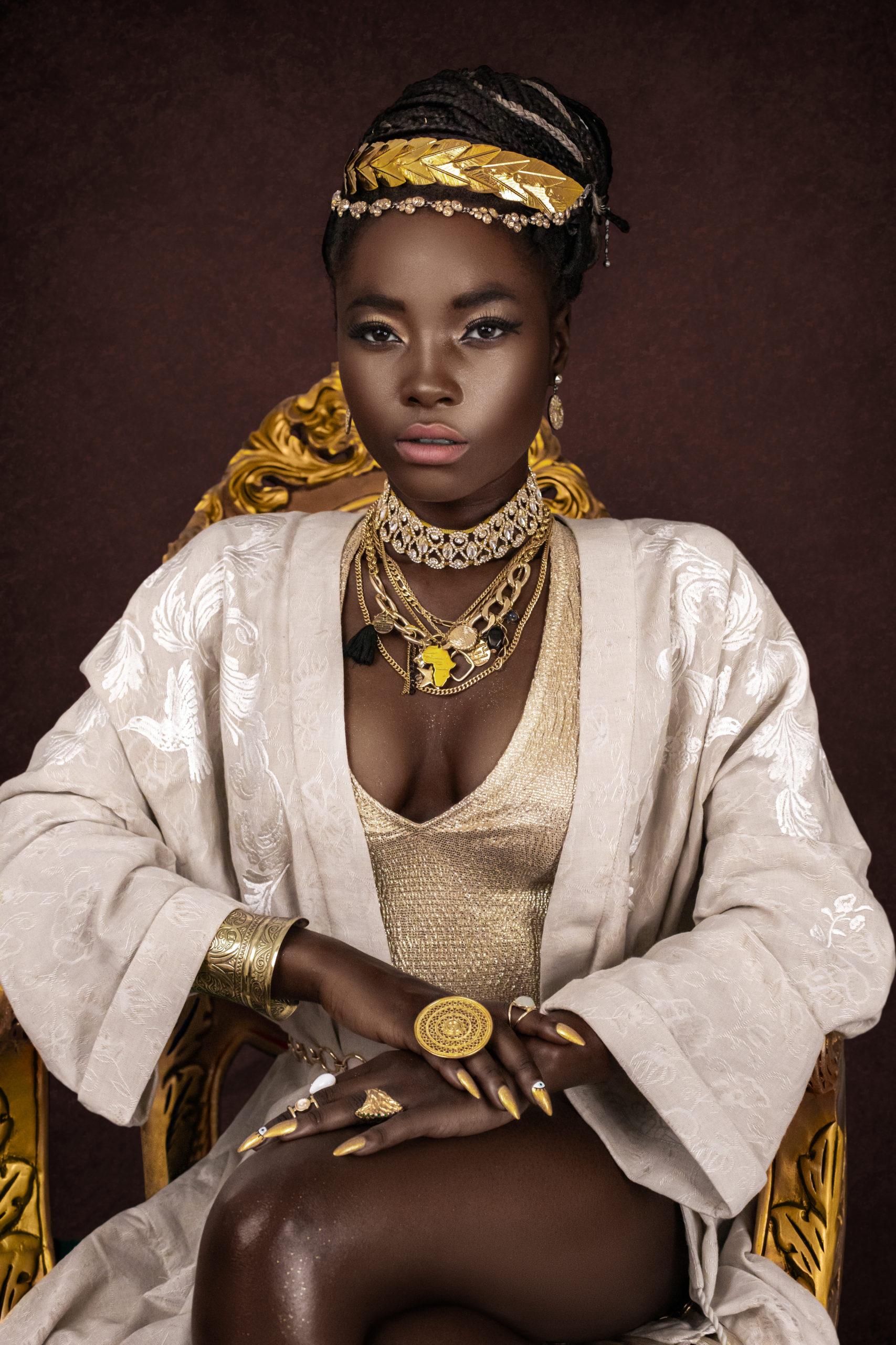 Female Egyptian Pharaoh Ruling From Gold Throne