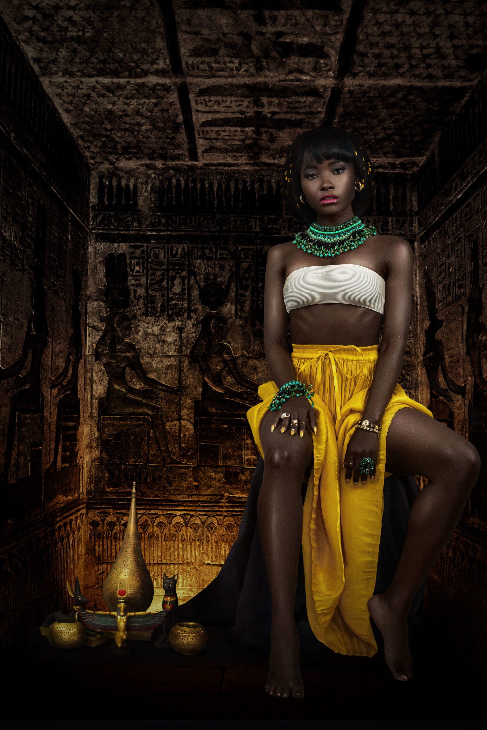 Female Egyptian Pharaoh Sitting In Her Tomb