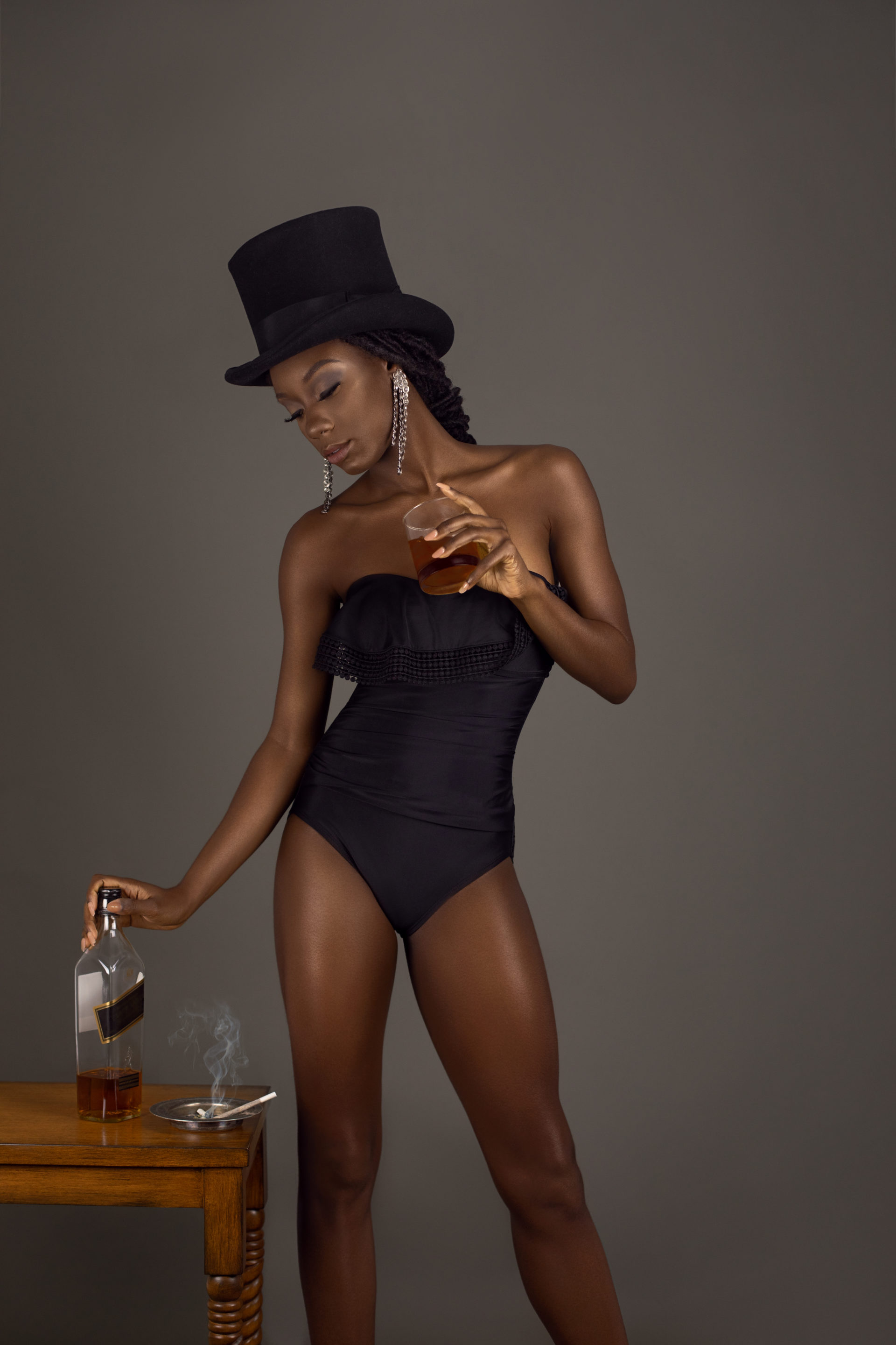 Whiskey Drinking Seductive Black Lady With Top Hat