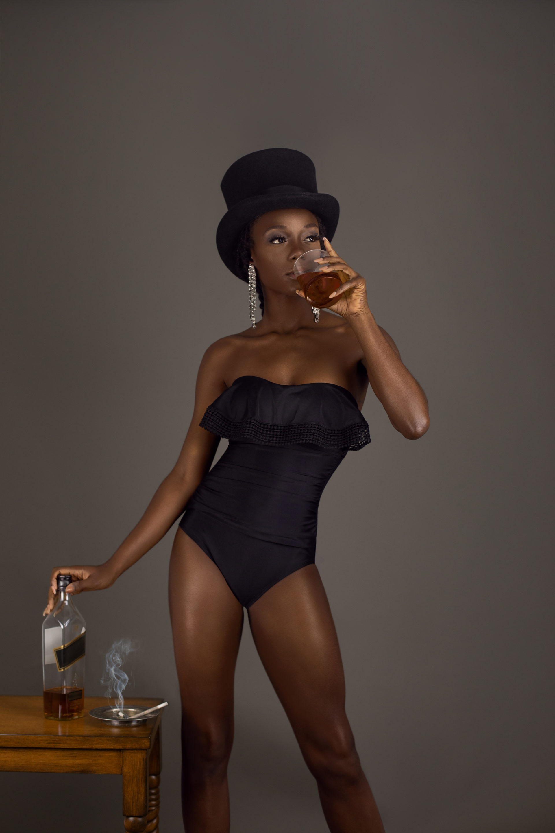 Whiskey Drinking Black Lady With Top Hat