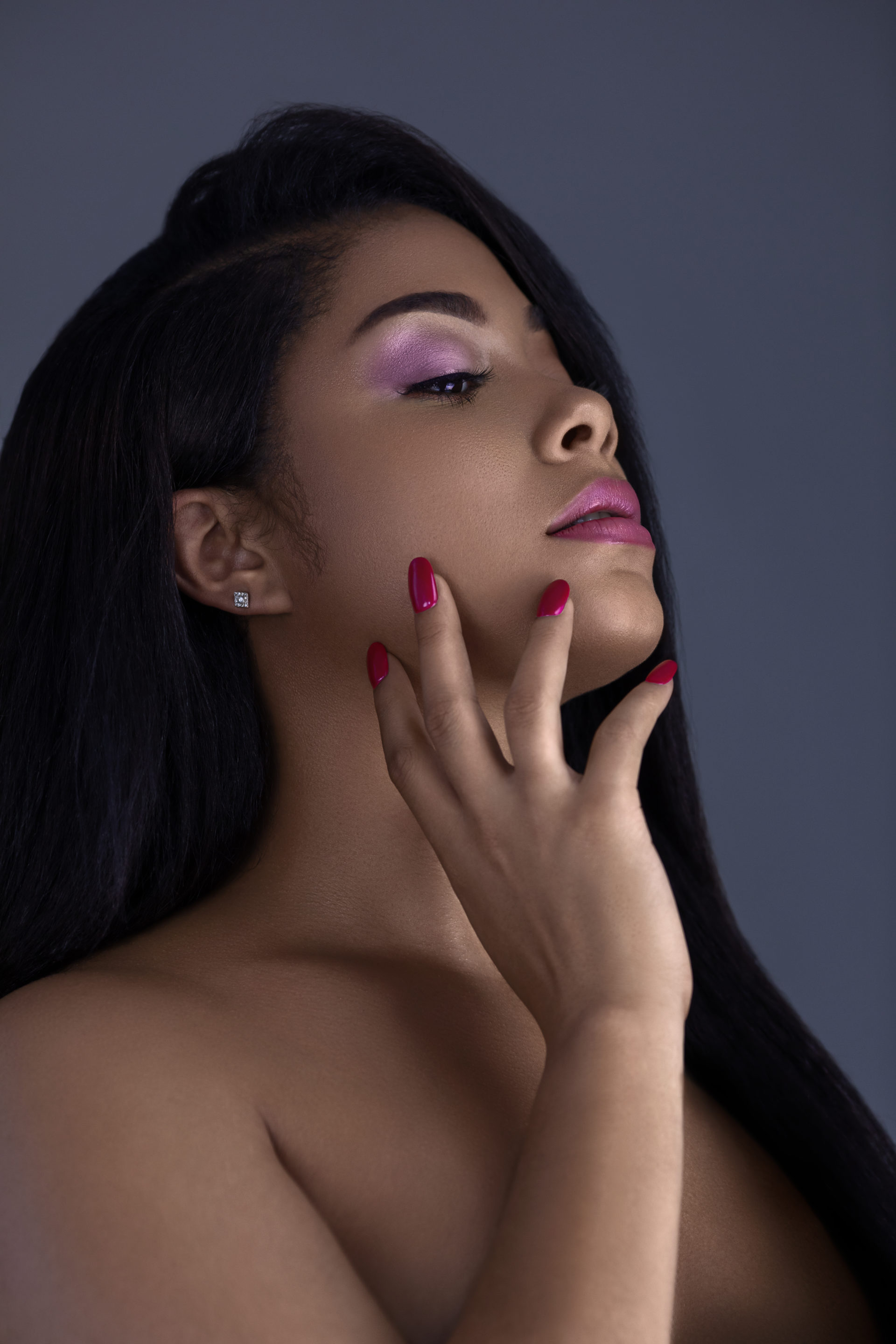 Sensual Latina with Red Lipstick & Nails