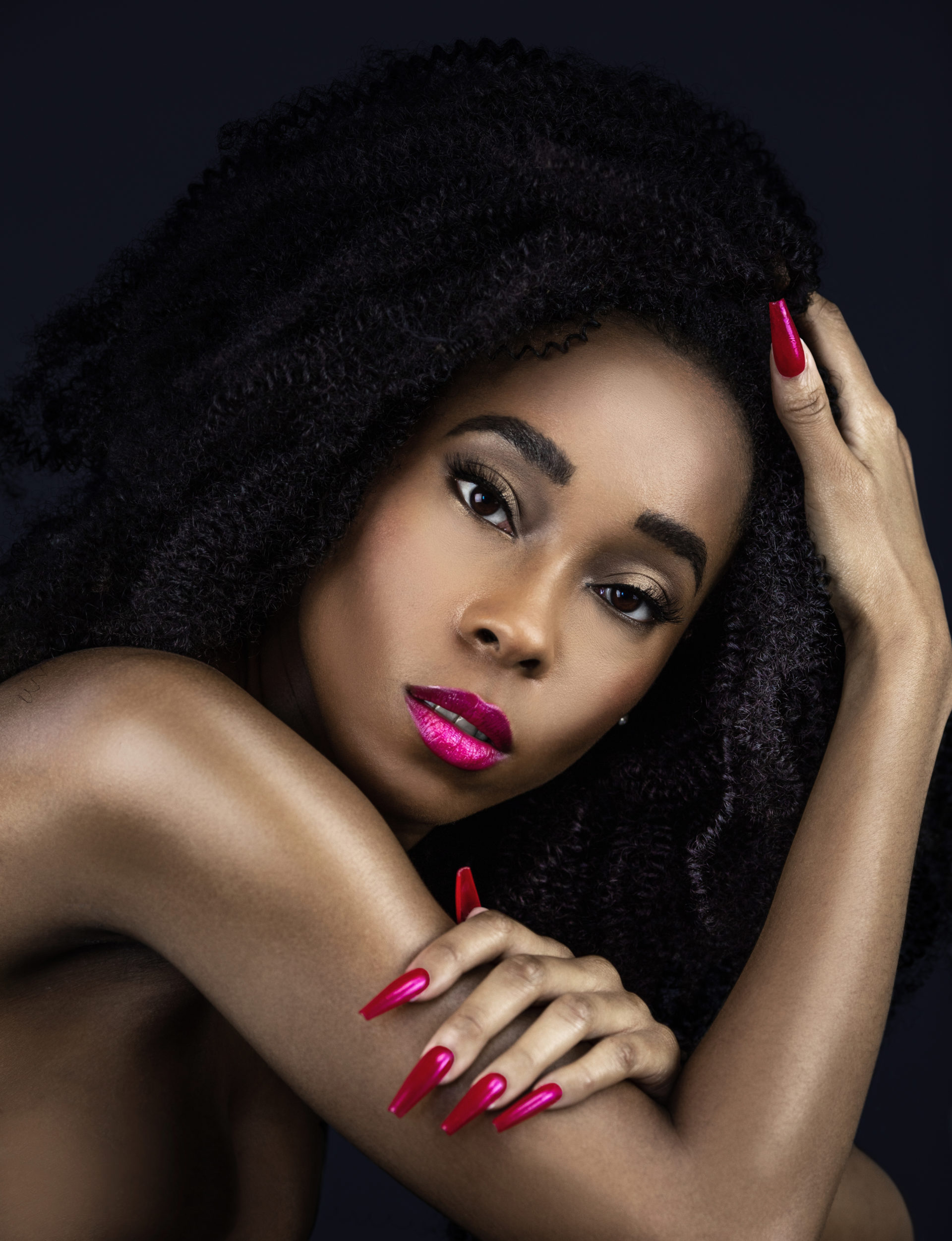 Curly Sexy Black Lady with Fuchsia Lipstick & Nails