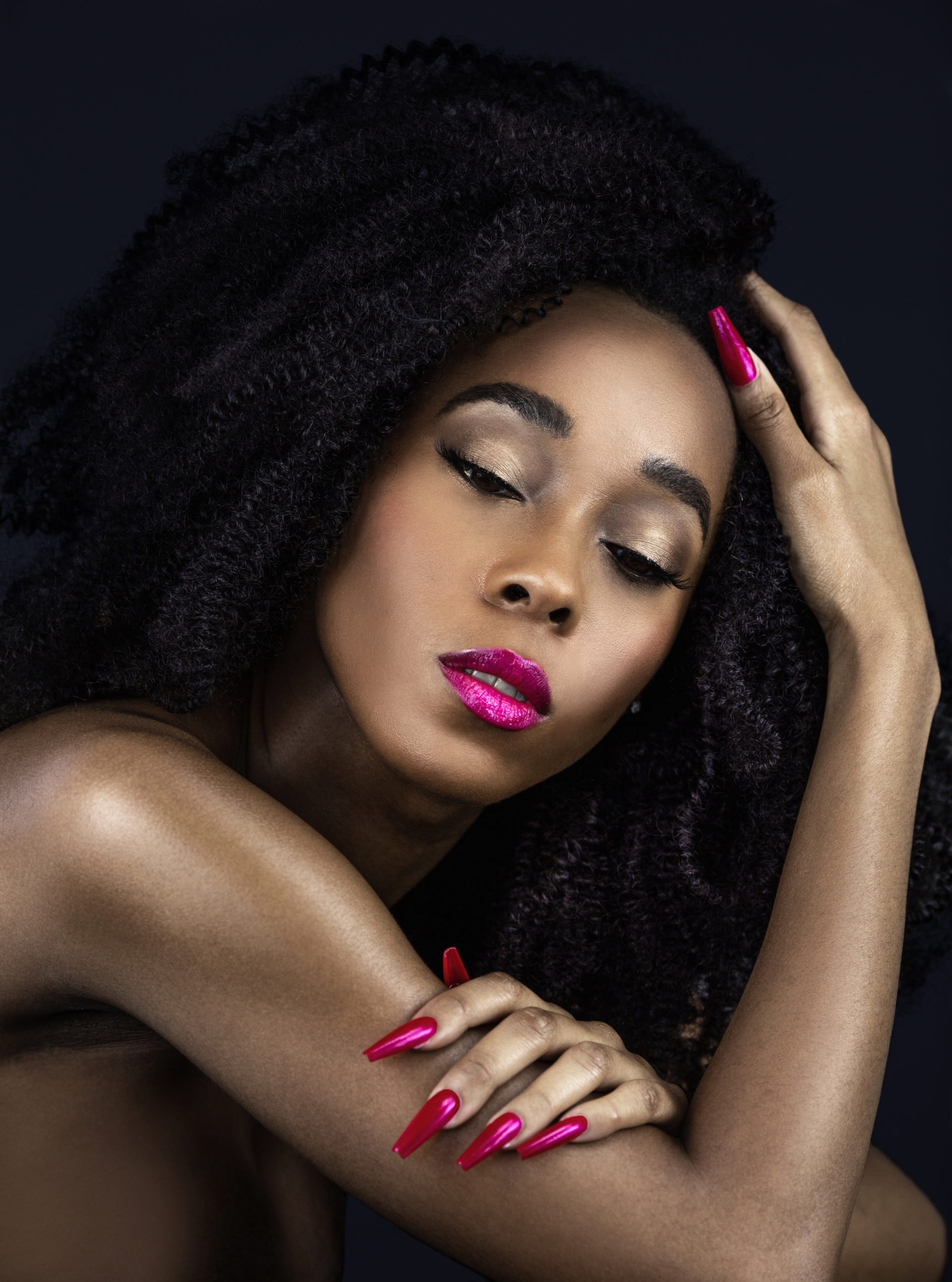 Curly Serene Black Lady with Fuchsia Lipstick & Nails