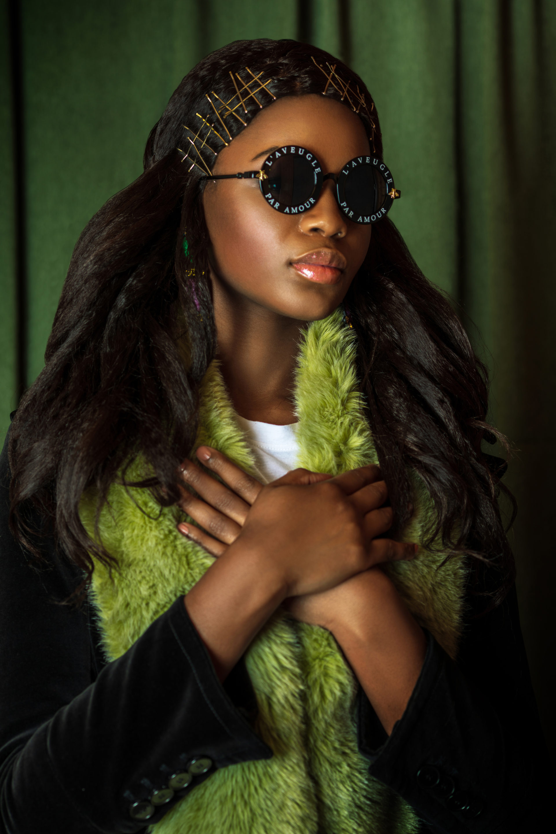 Serene Black Lady with Green Fur Coat