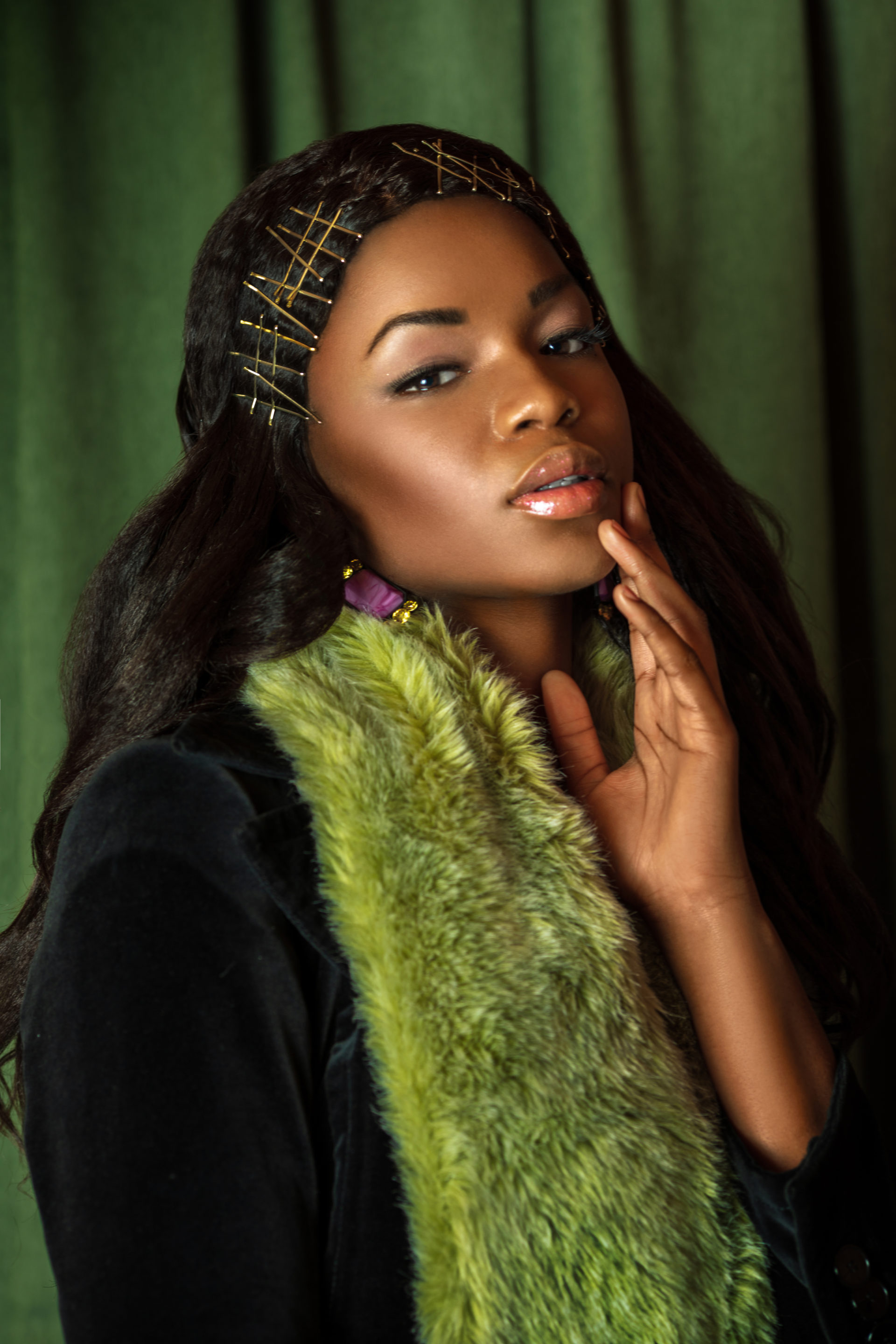 Sensual Black Lady with Green Fur Coat