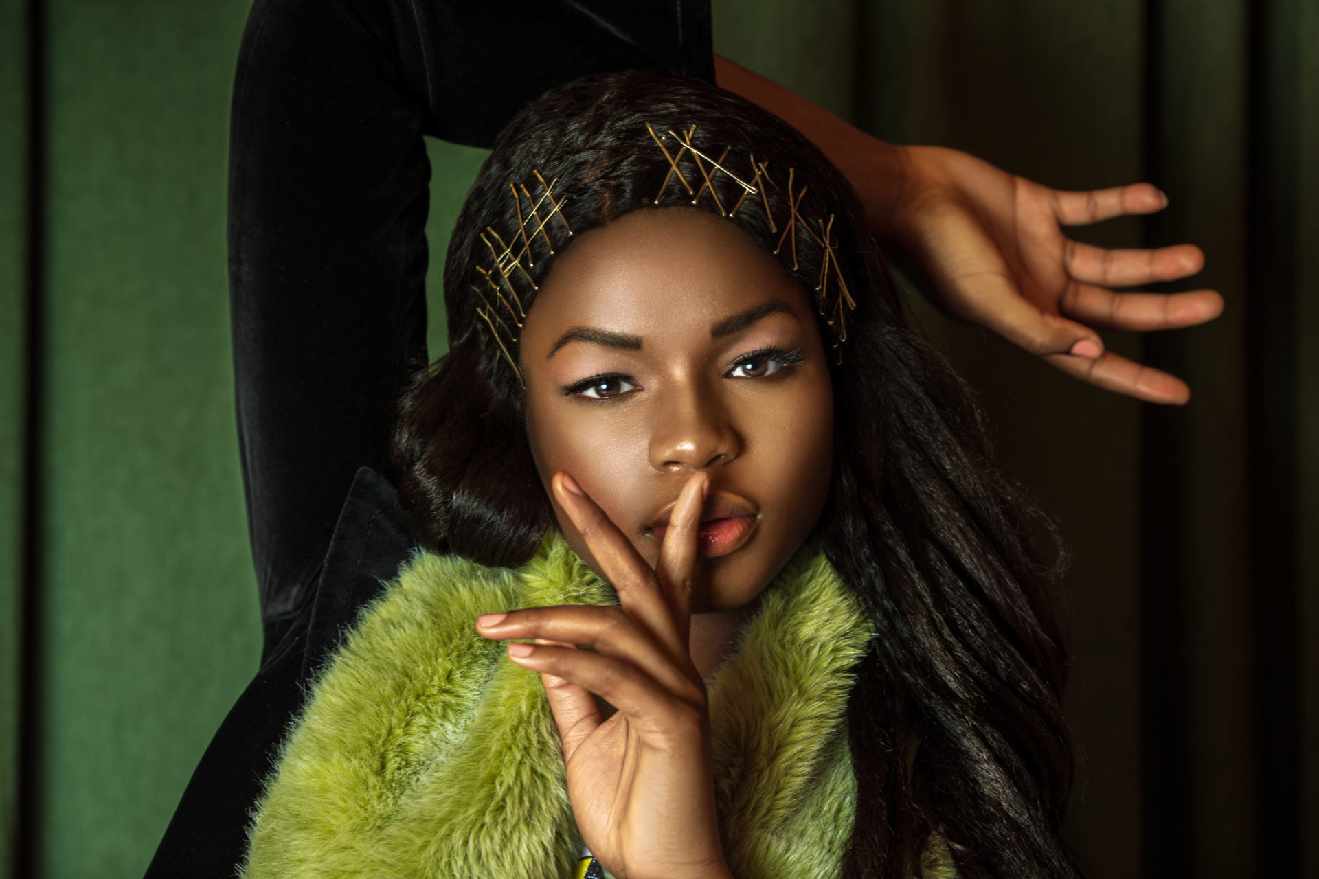 Sexy Black Lady with Green Fur Coat