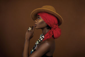 Black Gypsy Queen with Brown Fedora Hat