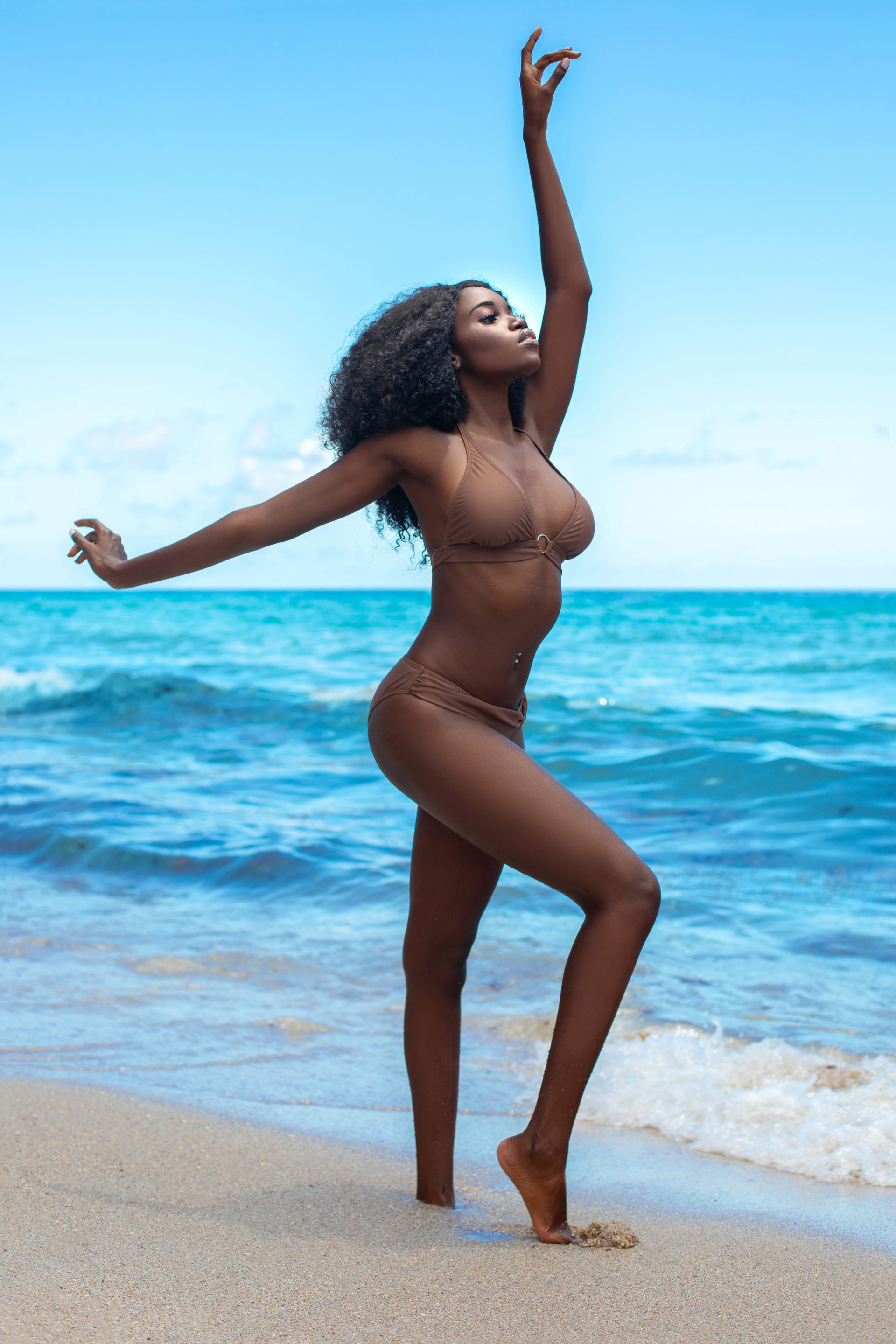Chocolate, Sugar & Water: Tropical Beach Serene Black Curly Queen