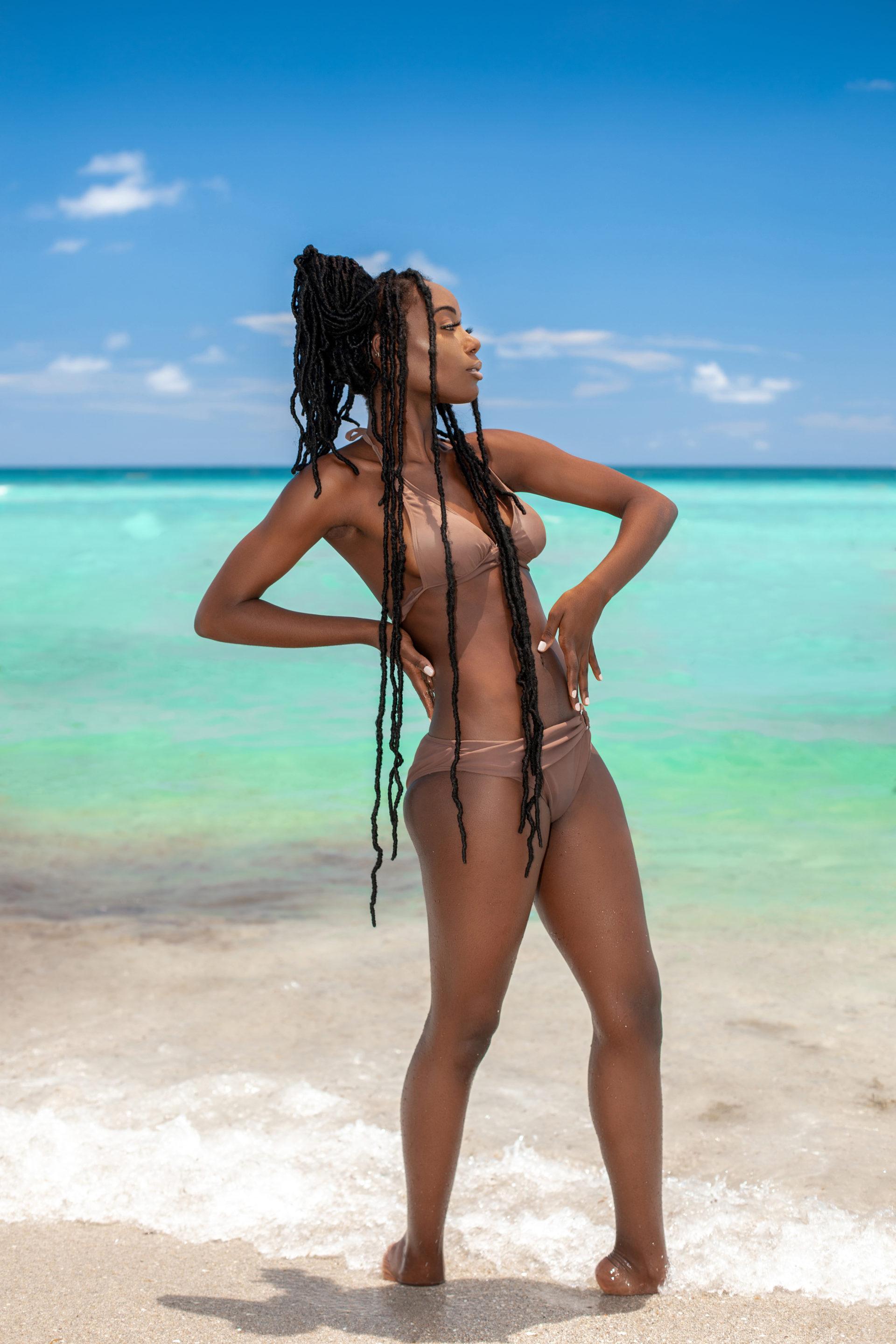 Tropical Beach Serene Black Dreadlock Queen