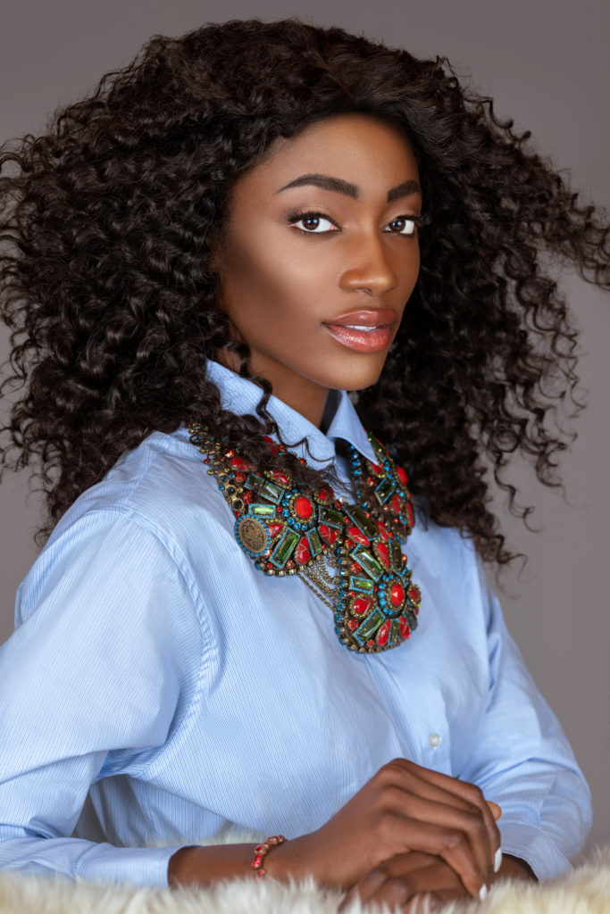 Sexy Black Woman in Blue Shirt