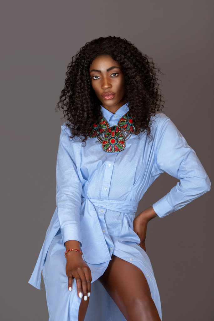 Sexy Black Woman in Blue Dress