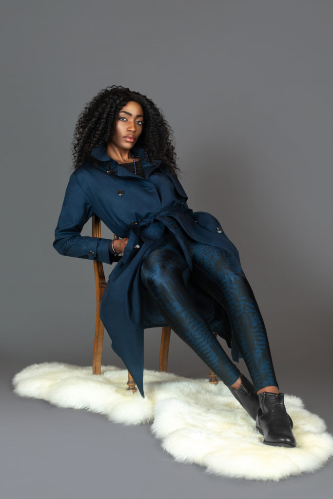 Beautiful Black Woman in Blue Trench Coat